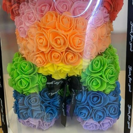 Artificial rainbow rose bear