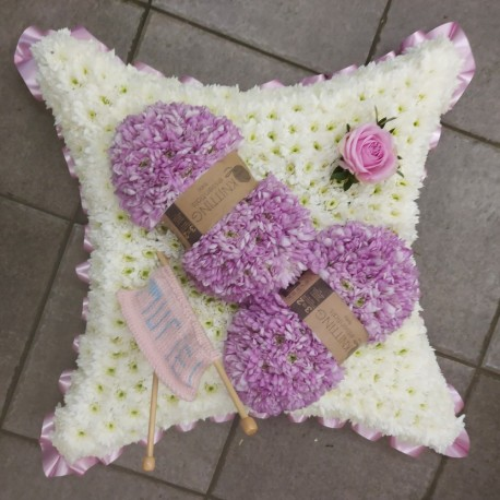 Knitting floral tribute