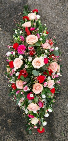 Pink and red Casket Spray