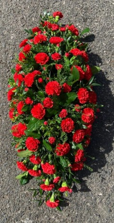 Red carnation casket