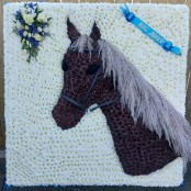 Horse head funeral tribute