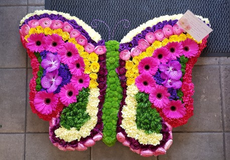 Vibrant butterfly funeral tribute