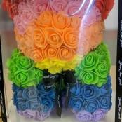 Artificial rainbow rose bear
